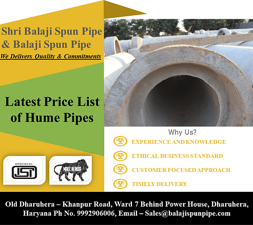Latest Price List of Hume Pipes